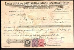 Nrs. 138 , 139 En 211 Op Ontvangstbewijs Van EAGLE STAR And BRITISH DOMINIONS INS. + KWIJTINGZEGEL ! ZELDZAAM ! - 1915-1920 Albert I
