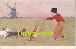 CPA ILLUSTRATEUR DESSIN CHAT GARCON HOLLANDAISE MOULIN ** DUTCH BOY CAT ** B K W I - Gatti