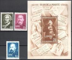Romania 1962 Famous People Mi 2064-2066+bl.52 - MNH (**) - 1948-.... Republics