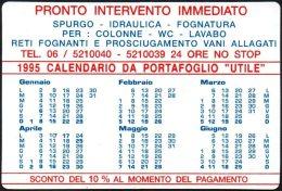ITALIA 1995 - CALENDARIO TASCABILE - PRONTO INTERVENTO IMMEDIATO - SPURGO / IDRAULICA / FOGNATURA / DERATTIZZAZIONE - Formato Piccolo : 1991-00