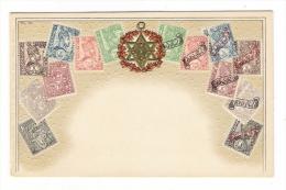 REPRESENTATION  DES  TIMBRES  D' ABYSSINIE  /  Belle Fantaisie Gaufrée  /  CPA  PRECURSEUR - Stamps (pictures)