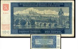 WW2   Bohemia & Moravia  Billet 100 Korun 1940 PROTEKTORAT German Occupation  S02A - Tchécoslovaquie