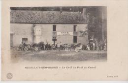HEUILLEY 21  LE CAFE DU PONT DU CANAL AUTOMOBILES DEVANT LE CAFE DE LA MARINE BELLE CARTE ANIMEE RARE !!! - Autres Communes