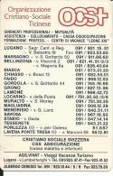 CAL562 - CALENDARIETTO 1999 - OCST - ORGANIZZAZIONE CRISTIANO-SOCIALE TICINESE - Formato Piccolo : 1991-00