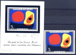 ##Romania 1970. Miro Painting. Peinture. Gemälde. Michel 2904 + Block 81. MNH(**) - 1948-.... Repúblicas