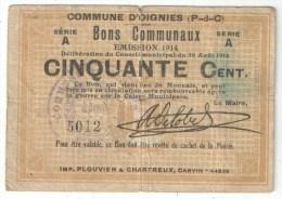 OIGNIES (62 - Pas-de-Calais) - Bon Communal 50 Centimes - 1914 - Bons & Nécessité