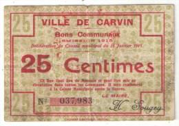 CARVIN (62 - Pas-de-Calais) - Bon Communal 25 Centimes - 1915 - Bons & Nécessité