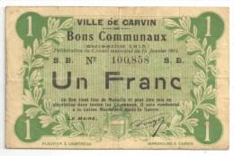 CARVIN (62 - Pas-de-Calais) - Bon Communal 1 Franc - 1915 - Notgeld