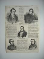 GRAVURE 1848. JOURNEES REVOLUTION DE 1848. 24 02. ARAGO. DE LAMARTINE. DUPONT. LEDRU-ROLLIN. LOUIS BLANC. BLESSES SALLE. - Prints & Engravings