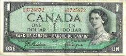 CANADA $1 GREEN QEII HEAD FRONT BUILDING BACK SIG BEATTIE-RASMINSKY ND(1961-72) AVF P75b  READ DESCRIPTION - Canada