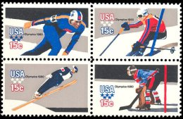 1980 USA Winter Olympic Games Stamps Sc#1795-98 1798b Sport Skating Skiing Ski Jump Ice Hockey - Skiing