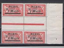 MEM 36 - MEMEL Mersons N° 57 Bloc De 4 Interpanneau Avec Pont Bord De Feuille Neuf** - Memel (1920-1924)