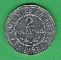 X129 Bolivia 2 Bolivianos 1991 - Bolivia