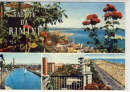 Saluti Da RIMINI - Panorama Visto Da Eden Rock, Porto Canale, Viale Vespucci, Lungomare E Spiaggia - Rimini