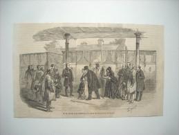 GRAVURE 1848. JOURNEES REVOLUTION DE 1848. ARRIVEE DE LOUIS-PHILIPPE A LA STATION DU CHEMIN DE FER DE CROYDON. - Estampes & Gravures