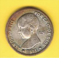 FICHAS - MEDALLAS // Token - Medal ~~ 1 Peseta 1891 Alfonso XIII Rep. Plateada - Profesionales/De Sociedad