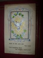 LOT DE 2 CARTES BRODEES - OISEAU - COLOMBE - RUBAN TRICOLORE - FLEUR ( VOIR LES 2 PHOTOS ) - Embroidered