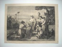 GRAVURE 1864. ENTREVUE D'ELIEZER, MESSAGER D'ABRAHAM, AVEC REBECCA. - Prints & Engravings