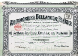 92 NEUILLY ACTION 100frs AUTOMOBILES BELLANGER FRERES  Signée M BELLANGER P FENAILLE - Automobile