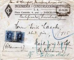 1923 SPANIEN, 2 Fach Frankierung Auf R-Brief, R-Stempel, Barcelona > Marburg A.d.Lahn > Essen - Spanien