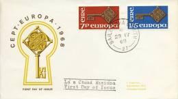 FDC Ierland - 1968 - Blanco / Open Klep - Europa-CEPT