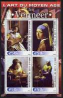 55102 - Ivory Coast 2003 Art Of The Modern Age - Paintings By Jan Vermeer Perf Sheetlet Containing 4 Values ... - Costa De Marfil (1960-...)