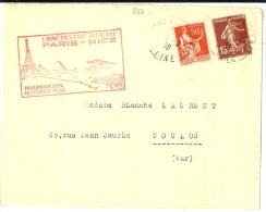 LANV7 - FRANCE INAUGURATION LIGNE POSTALE AERIENNE PARIS / NICE16/2/1938 - Marcophilie (Lettres)