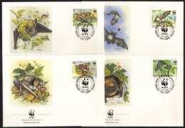 CHAUVE-SOURIS - BAT - FLEDERMAUS - WWF / 1989 BULGARIE 4 ENVELOPPES FDC ILLUSTREES (ref CM118) - Chauve-souris