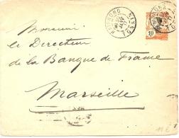 LANV7 - INDOCHINE EP ENVELOPPE 10c VOYAGEE HAIPONG / MARSEILLE 30/1/1917 - Autres