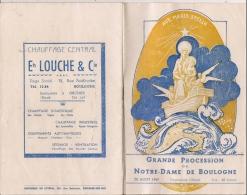 Programme : 62- BOULOGNE - Grande Procession De Notre-Dame De Boulogne  Le 28 Aout 1949 - Nombreuses Publicités - - Programmes