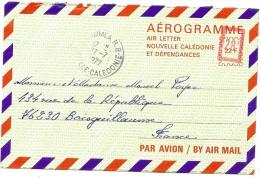 LANV7 - NOUVELLE CALEDONIE - AEROGRAME N°4 VOYAGE 27/7/1977 - Luftpost
