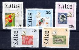 ZAIRE 1986, EXPO CENZAPOST, TIMBRE SUR TIMBRE FLEUR, FOOTBALL, BATEAU VAPEUR... 5 Valeurs, Neufs / Mint. R029 - Zaire