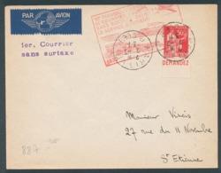 Paix 50c Rouge Type III Avec Pub Demandez(CCP) Sur Lettre Pour Saint-Etienne - 1er Transport Aérien Sans Surtaxe - Publicités