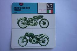 Transports - Sports Moto - Carte Fiche Moto - Moto Guzzi 500 Condor - 1939 ( Description Au Dos De La Carte ) - Motociclismo