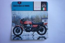 Transports - Sports Moto - Carte Fiche Moto - Moto Guzzi 850 Le Mans - 1977 ( Description Au Dos De La Carte ) - Motociclismo