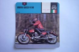Transports - Sports Moto - Carte Fiche Moto - Moto Guzzi V 50 - 1978 ( Description Au Dos De La Carte ) - Motociclismo