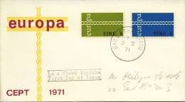FDC Ierland - 1971 - Met Adres / Open Klep - Europa-CEPT