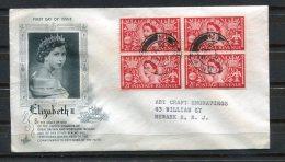 Greait Britain 1953 First Day Cover To USA Block Of 4 Elizabeth II - 1952-.... (Elizabeth II)