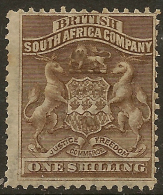 RHODESIA 1892 1/- Grey Brown SG 4 HM ZA124 - Grande-Bretagne (ex-colonies & Protectorats)