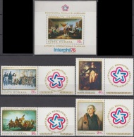 Romania 1976 American Bicentennial Art  Paintig Gemalde  Mi 3320-3325+bl.130  - MNH (**) - Nuevos