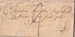 OISE - NOAILLES T12 DU 24-11-1832 + DECIME RURAL + TAXE 2 BLEU MANUSCRITE - LETTRE AVEC TEXTE - INDICE 7. - Marcophilie (Lettres)