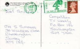 POSTAL HISTORY 1992 SLOGAN -TEN YEARS OF BROADCASTING - Postmark Collection