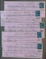 H0021a US Cumberland National Bank, 5 @ Checks (cheques) 1882 & 1883 - Vieux Papiers