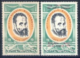 ##Romania 1975. Michelangelo. Michel 3256 + 3291. MNH(**). - 1948-.... Repúblicas