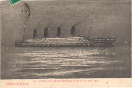 """4812 / 13  - Le """"Titanic"""" En Route De Cherbourg Le Soir Du 10 Avril 1912 - Paquebote"""