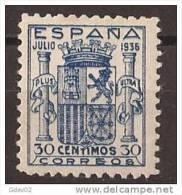 ES801-L4040TESO.España Spain Espagne. ESCUDO DE ESPAÑA.1936. (Ed 801**).sin Charnela.Magnifico,CERTIF ICADO - Otros