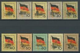 BL1-237 EAST GERMANY 1959 MI 722-731 EAST BERLIN FLAGS, FAHNEN, DRAPEAUX, VLAGGEN. MNH, POSTFRIS, NEUF**. - Postzegels
