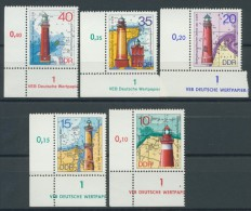 BL1-239 EAST GERMANY 1975 MI 2045-2049 CORNERBLOCKS, LEUCHTTURMEN, LIGHTHOUSE, PHARE, VUURTOTENS. MNH, POSTFRIS, NEUF**. - Phares