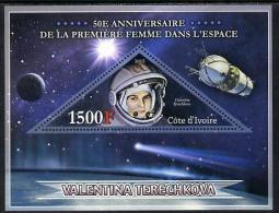 152137 - Ivory Coast 2013 50th Anniversary Of First Woman In Space Perf S/sheet Containing Triangular Value U... - Costa De Marfil (1960-...)