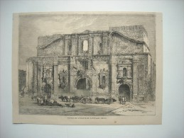 GRAVURE 1864. CHILI. RUINES DE L'EGLISE DE SANTIAGO. - Estampas & Grabados